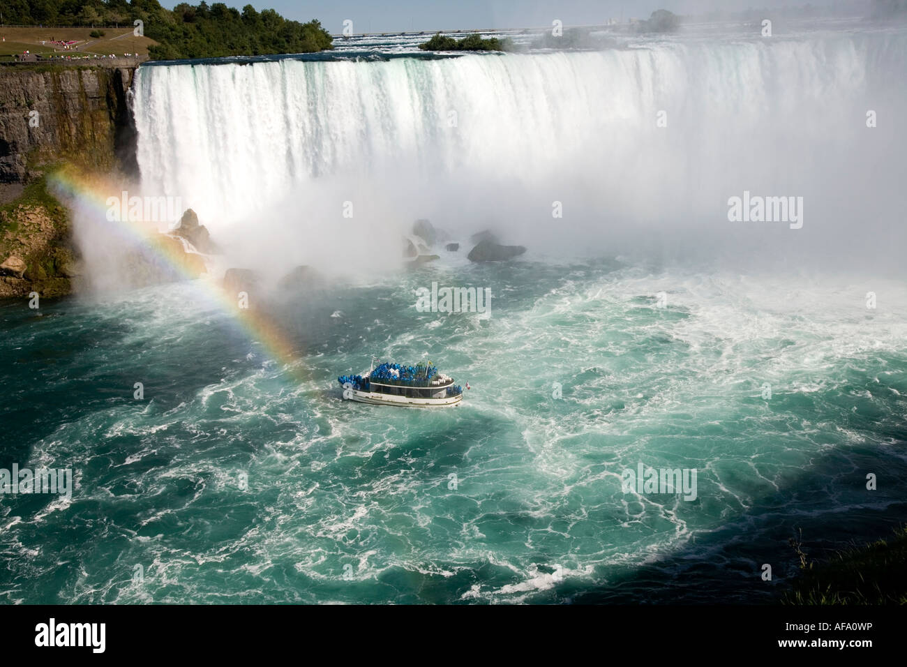Tour boat 'Maid of the Mist' approaching the Horseshoe Falls;Niagara Falls;Ontario;Canada;North America - Stock Image