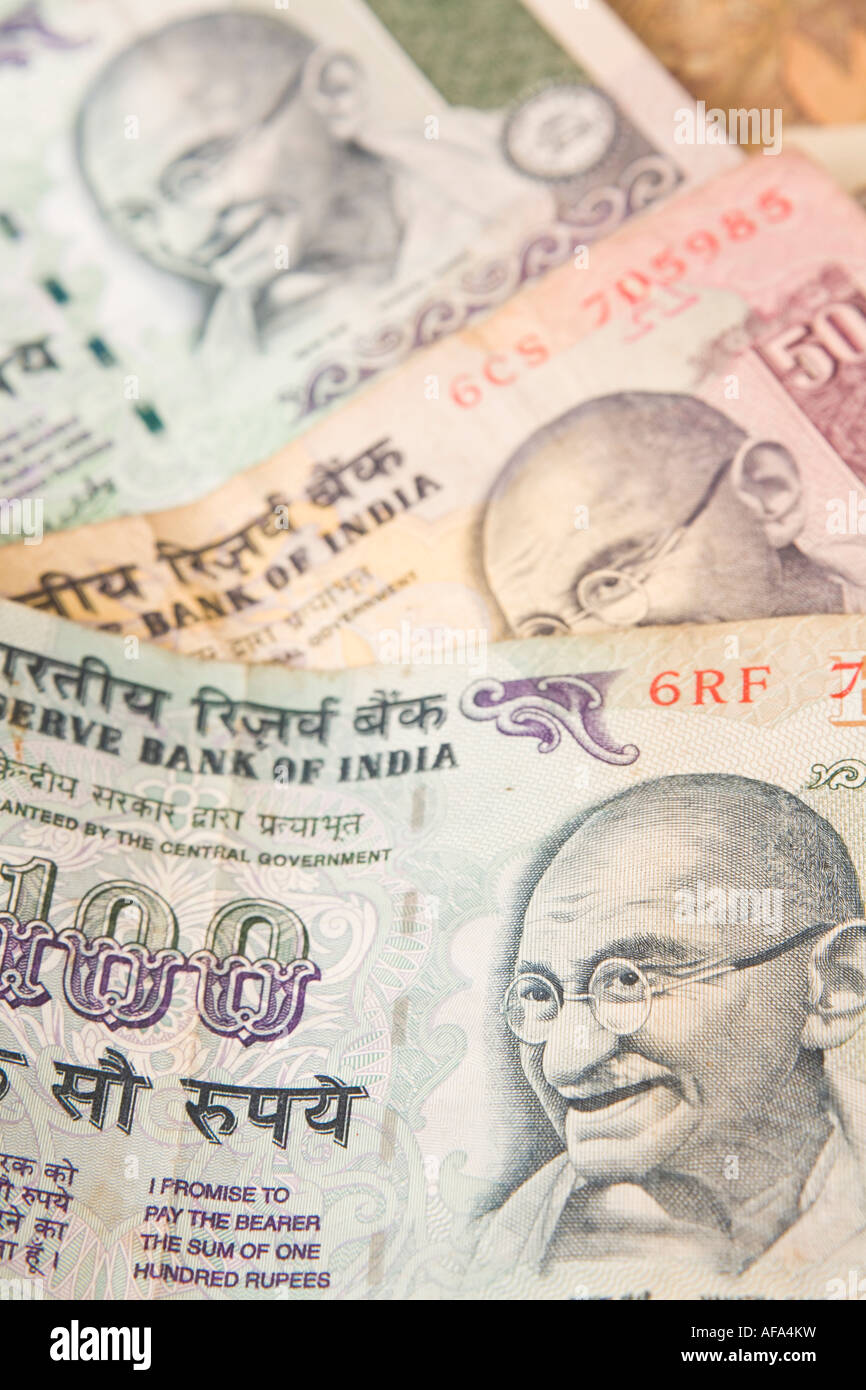 Indian rupee notes spread in a pattern - Stock Image