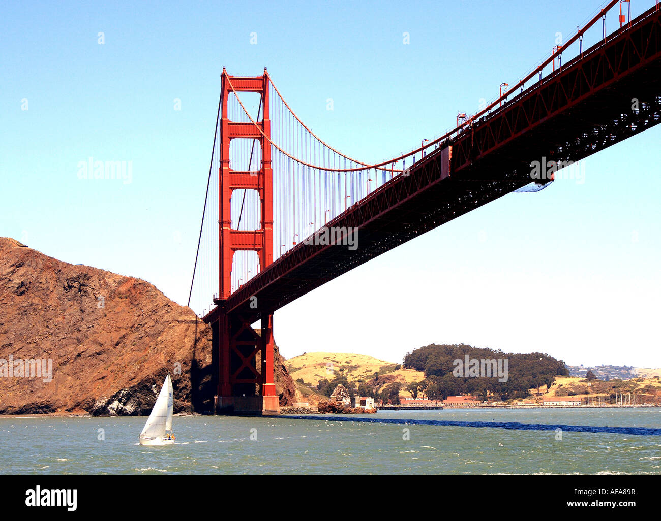 Horizonal view of a small sailboat passing under the northern span of the San Francisco Golden Gate Bridge - Stock Image