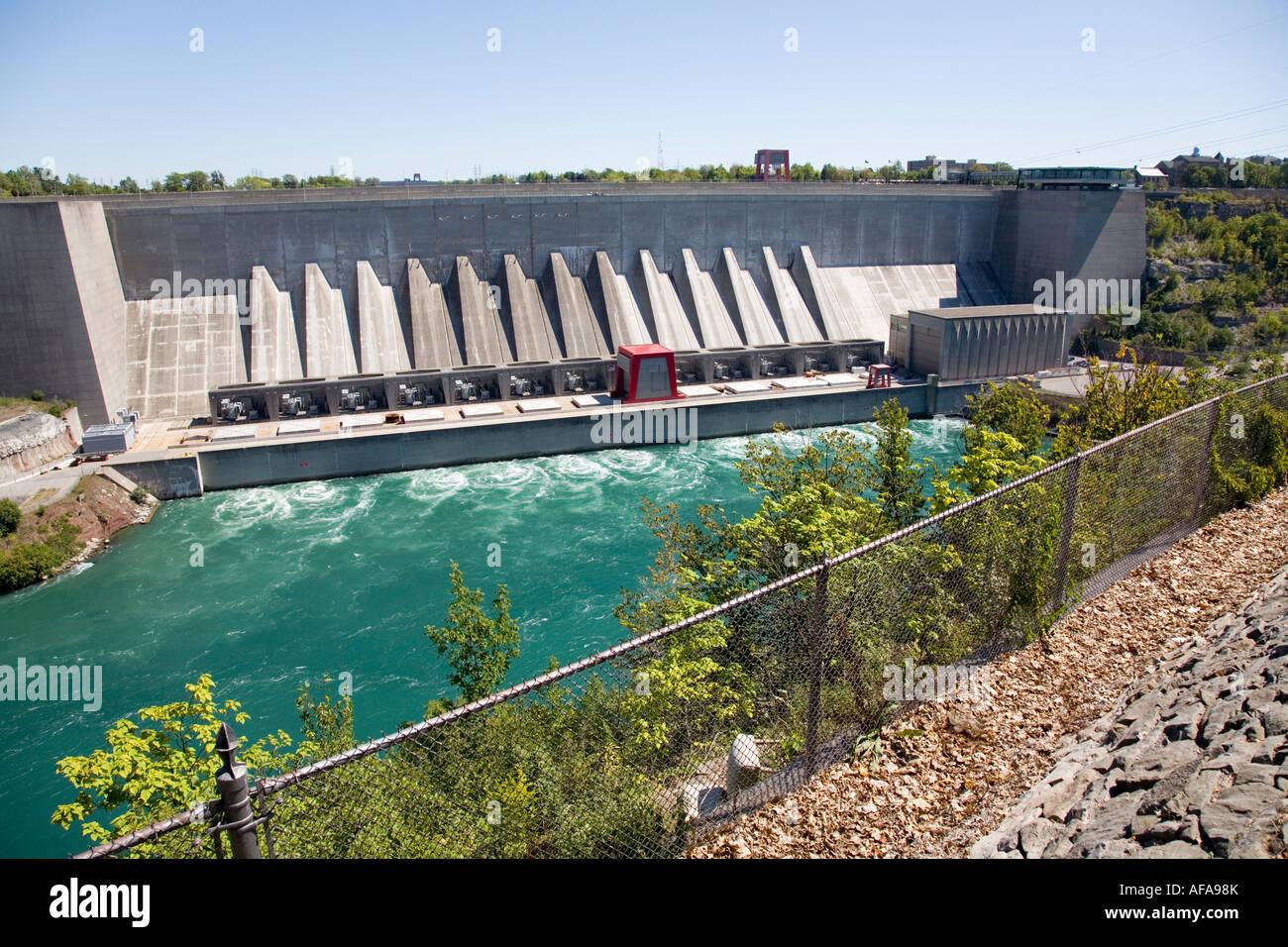 Ontario Hydro Electricity Plant Niagara River Ontario Canada Electric Power Dam - Stock Image
