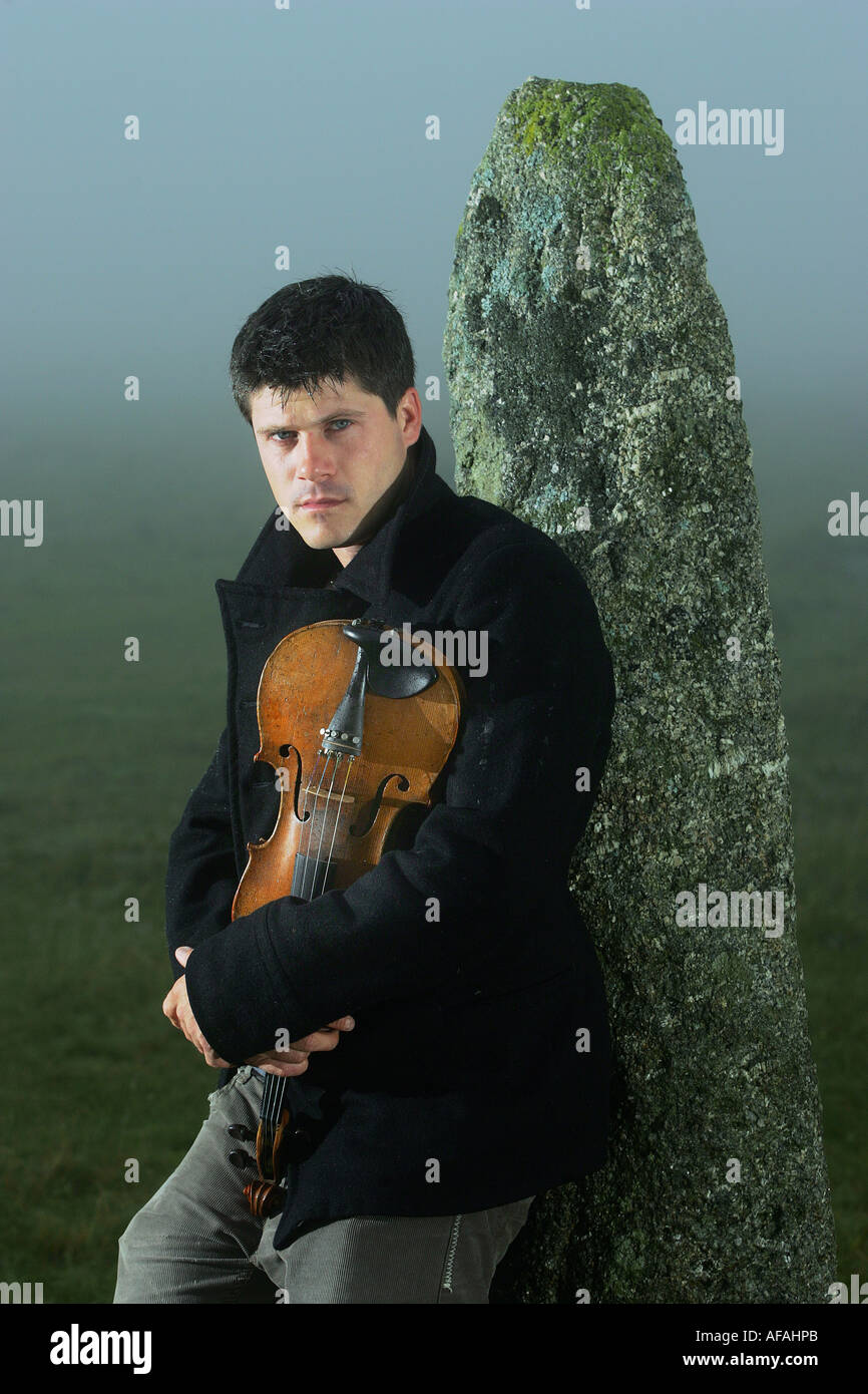 Folk musician Seth Lakeman on Dartmoor Devon UK - Stock Image
