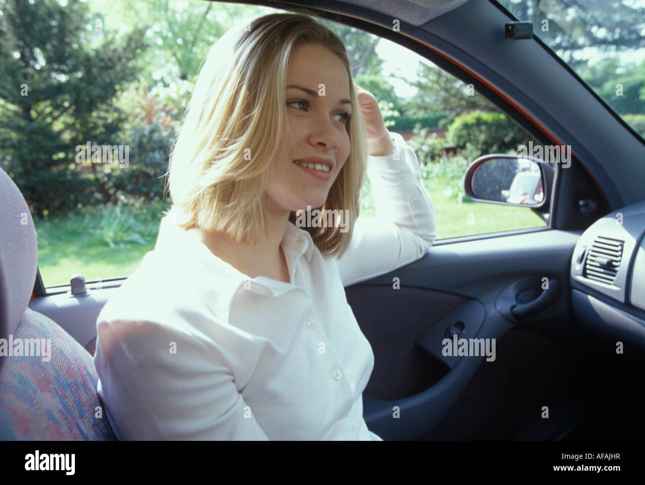 woman sitting in a car Stock Photo