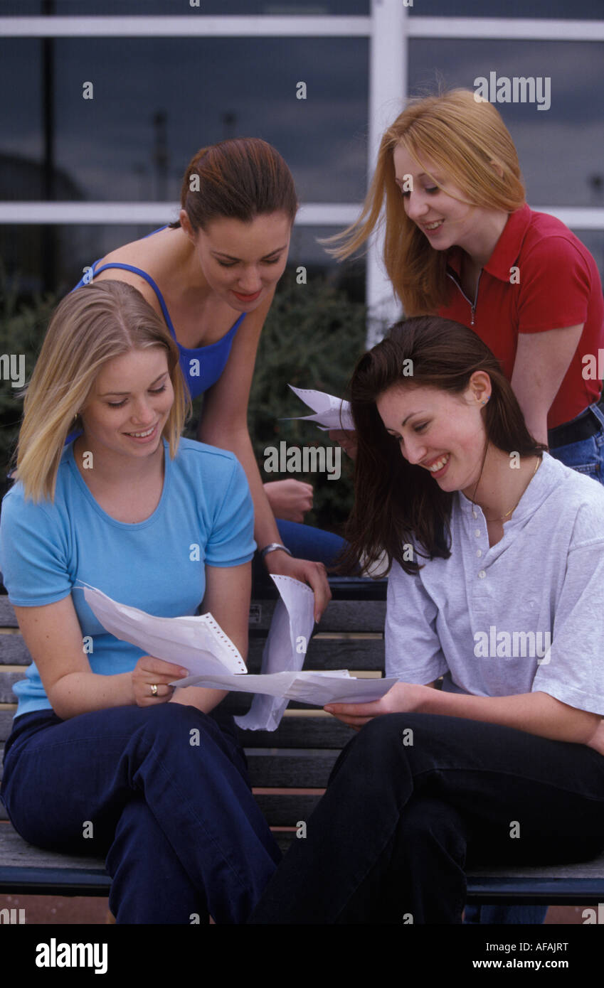 students getting their results - Stock Image
