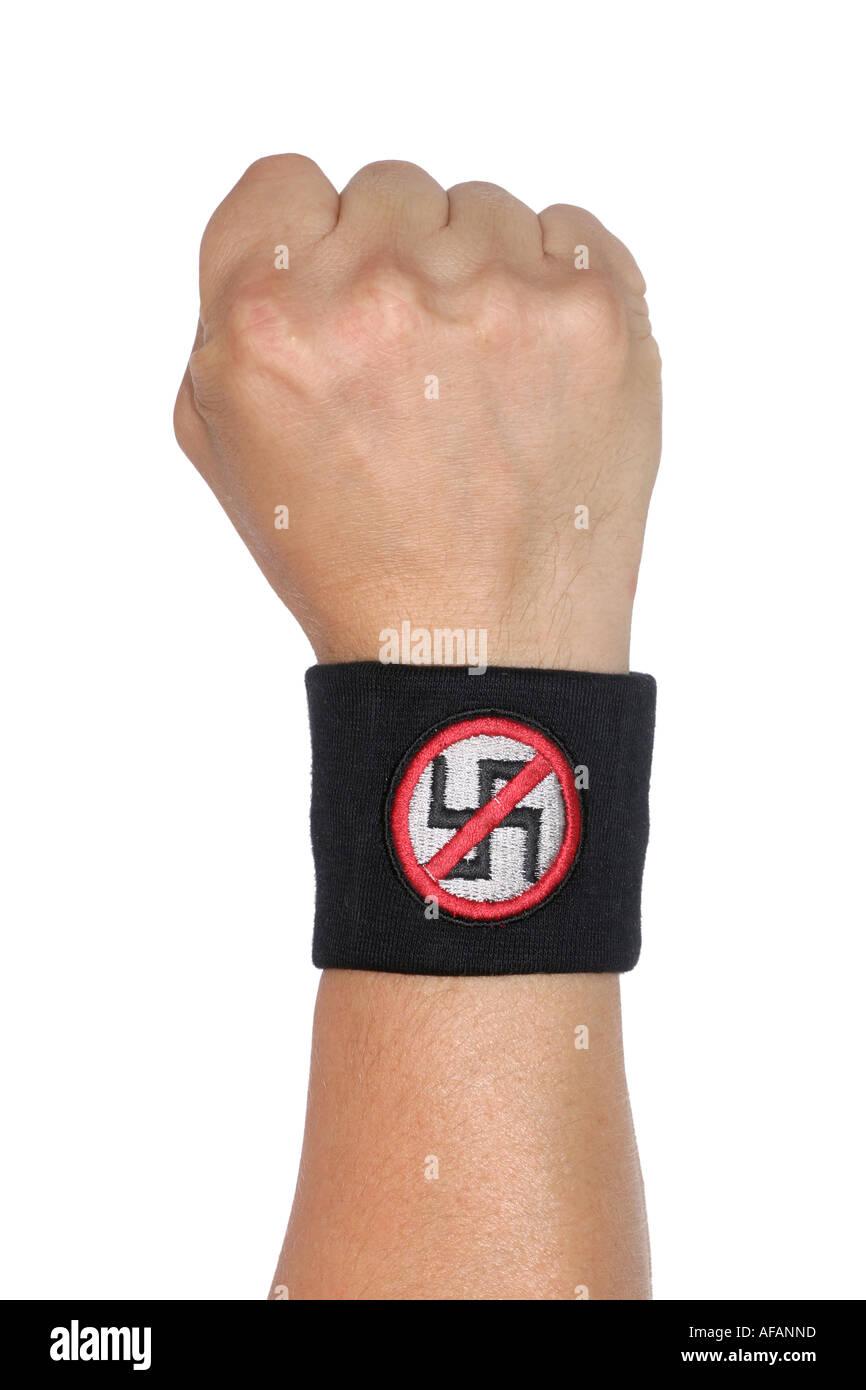 Fist with an anti nazi sweatband - Stock Image
