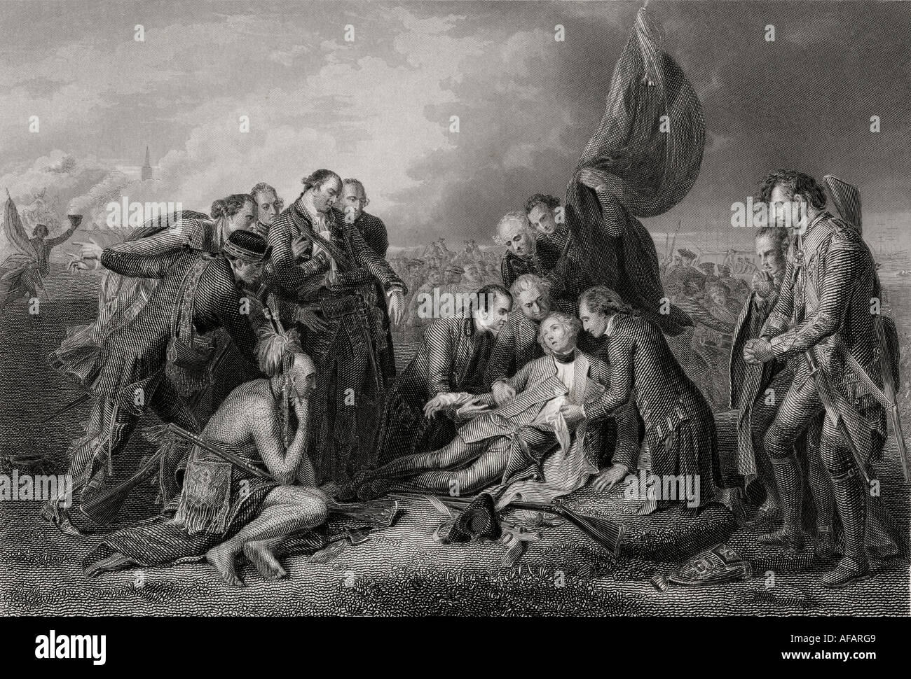 The Death of General Wolfe at the battle of Quebec 1759 - Stock Image