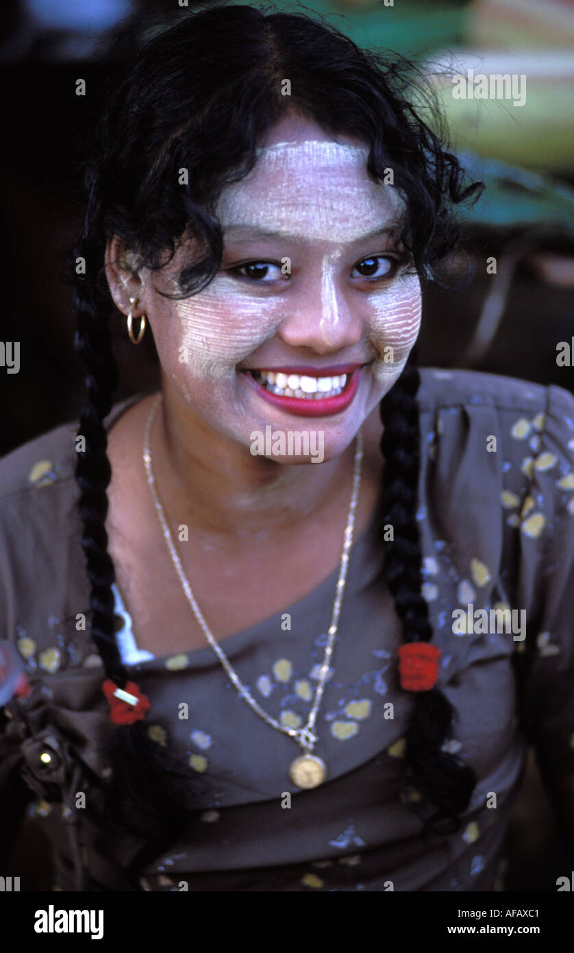 Mandalay girl with thanaka powder sun block on her face