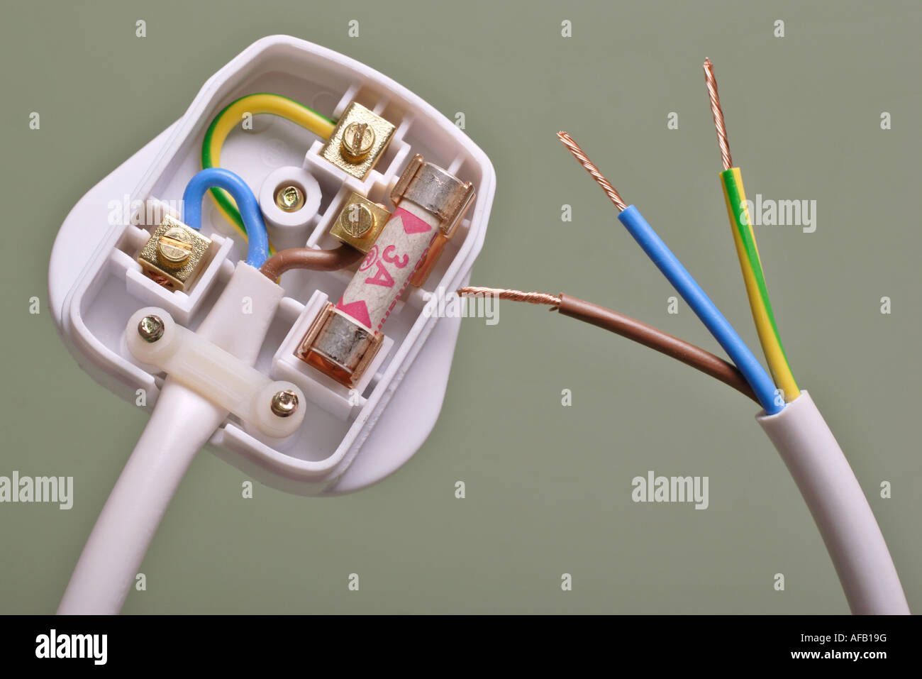 Uk Three Pin Electrical Plug 3 Amp Fuse Stock Photo 13889787 Alamy Wiring An In The