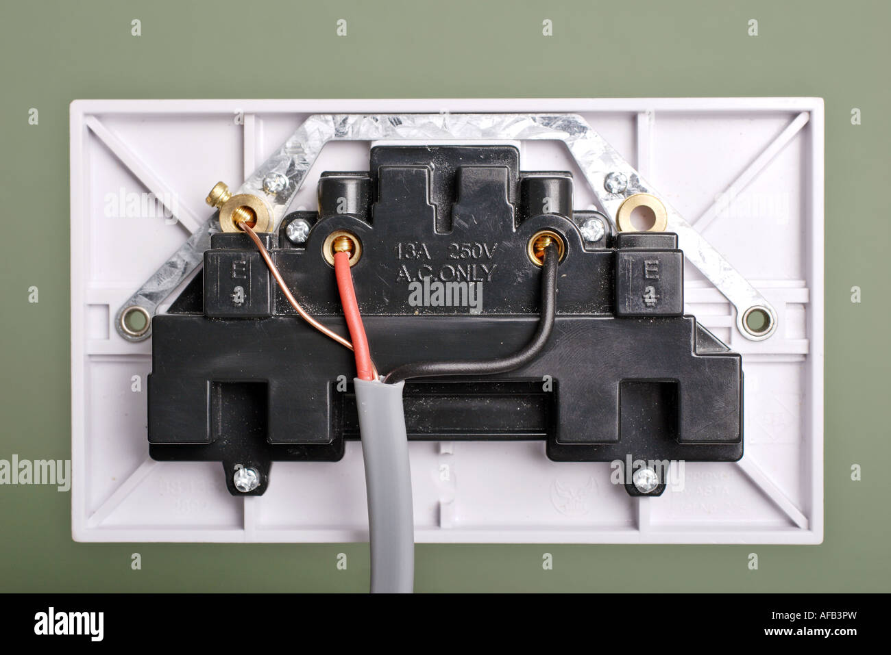 rear view of 3 pin electrical socket wiring stock photo 13890624 rh alamy com