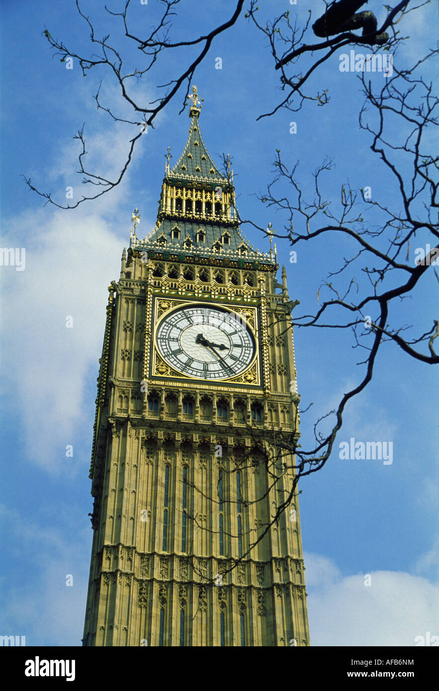 Big Ben on a sunny early spring day - Stock Image