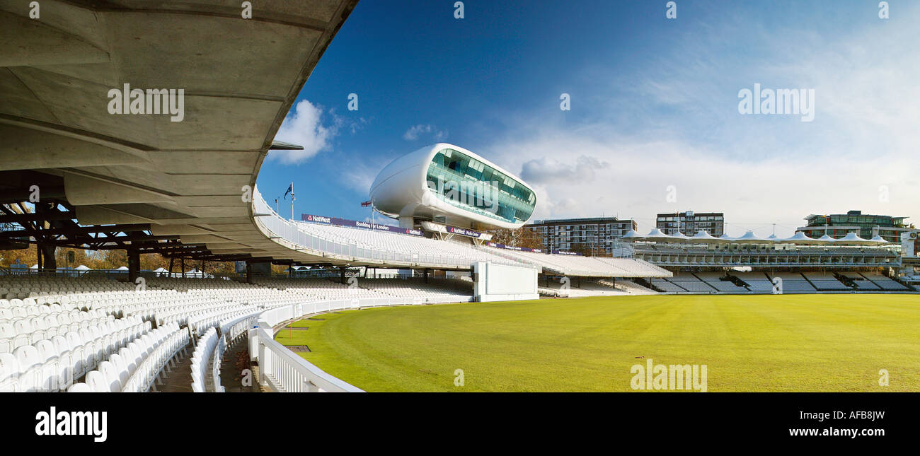 Panoramic view of Lords Cricket Ground. From Compton Stand looking towards Future Systems' Natwest Media Centre. - Stock Image