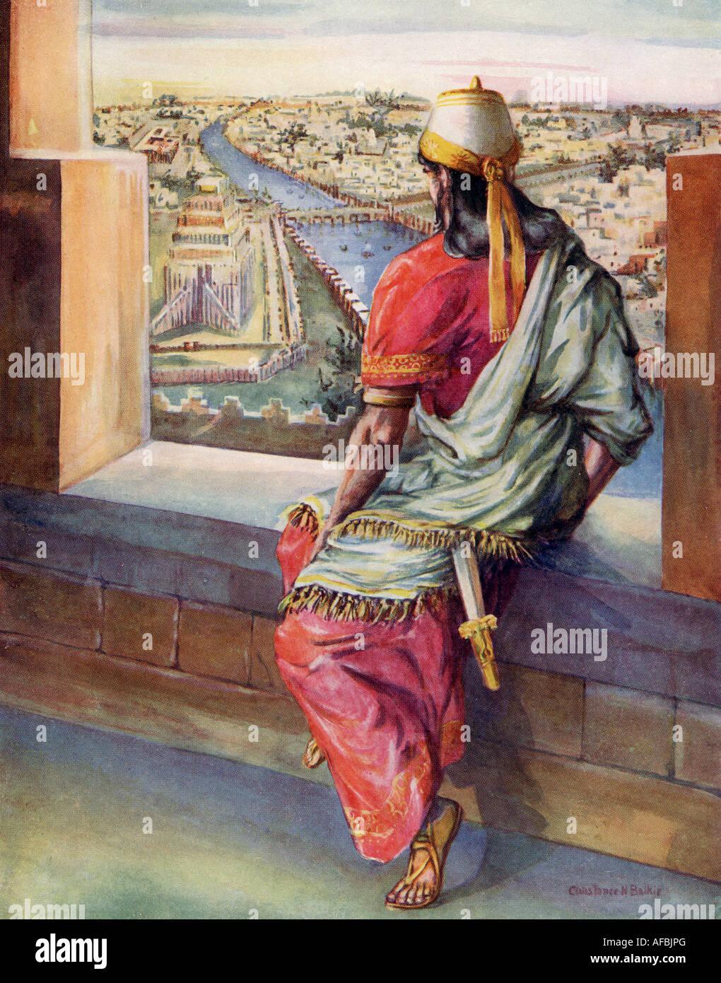King Nebuchadrezzar II, aka Nebuchadrezzar, c. 630-562 BC looking over Babylon. Stock Photo