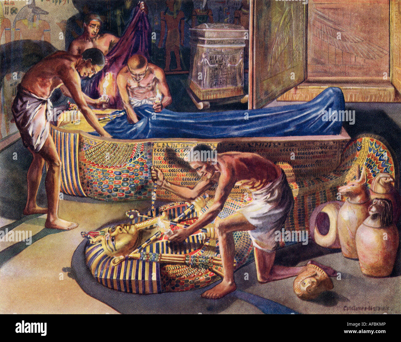 Plundering Pharaoh   Theban Tomb Robbers At Work - Stock Image