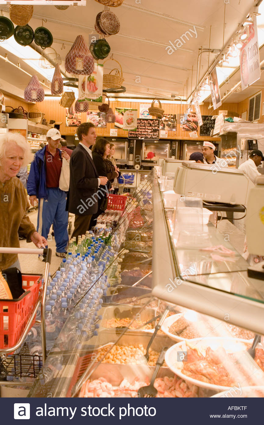 Deli at the popular Zabars food and appliance store Upper West Side New York City - Stock Image
