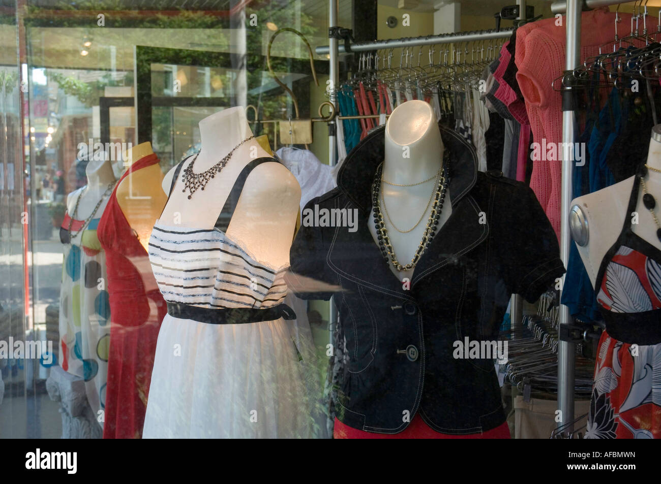 dresses on sale in a boutique in newport rhode island - Stock Image