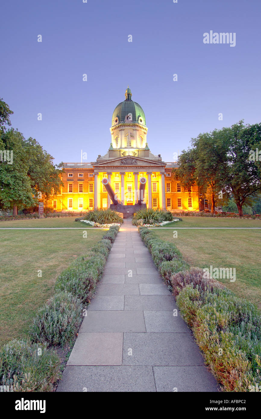 The Imperial War Museum in London at dusk. The building used to be the Bethlem mental hospital  (Bedlam) in Victorian times. - Stock Image