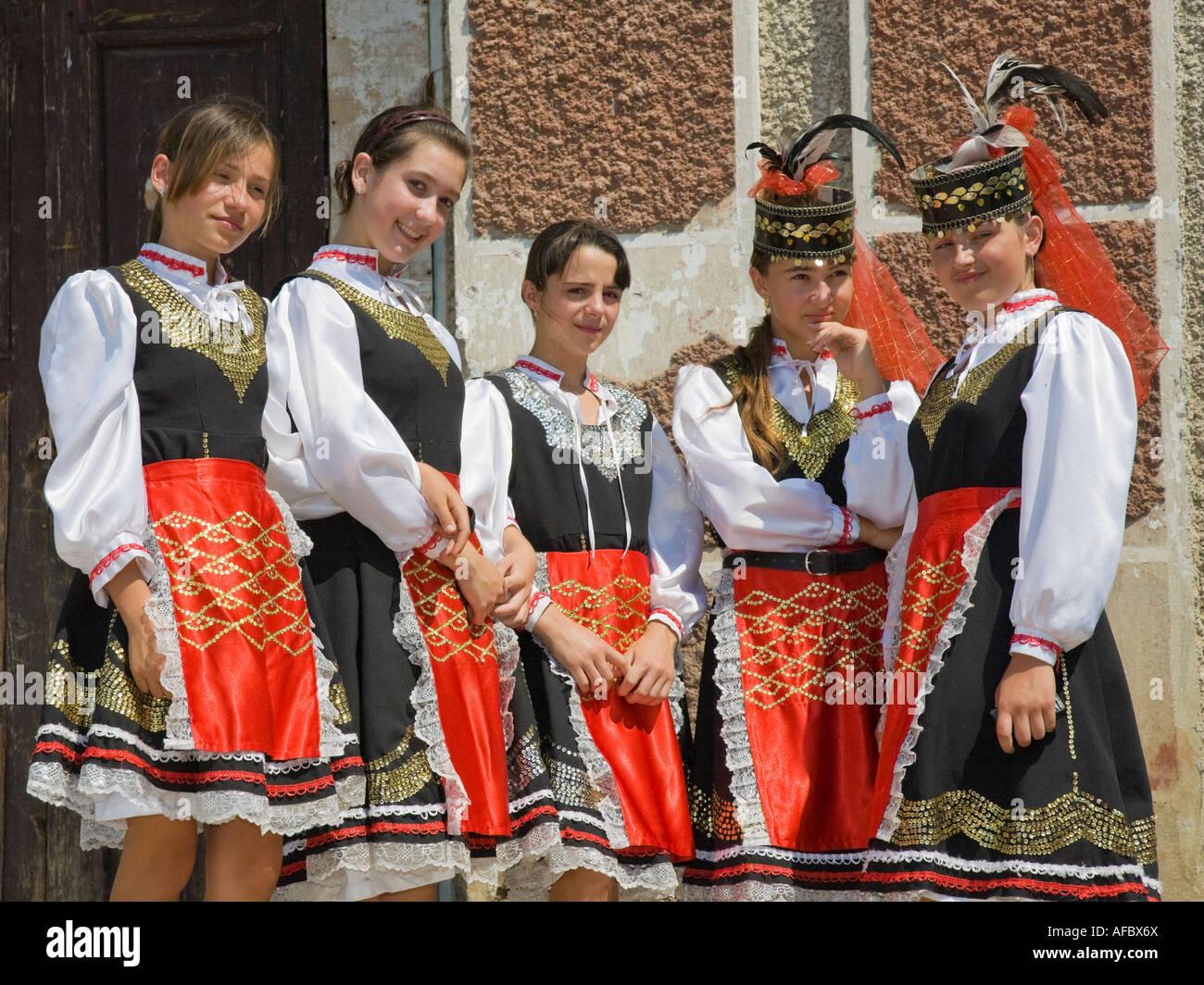 Five young girls in traditional Ukrainian costumes in Plotzk / Ukraine Stock Photo