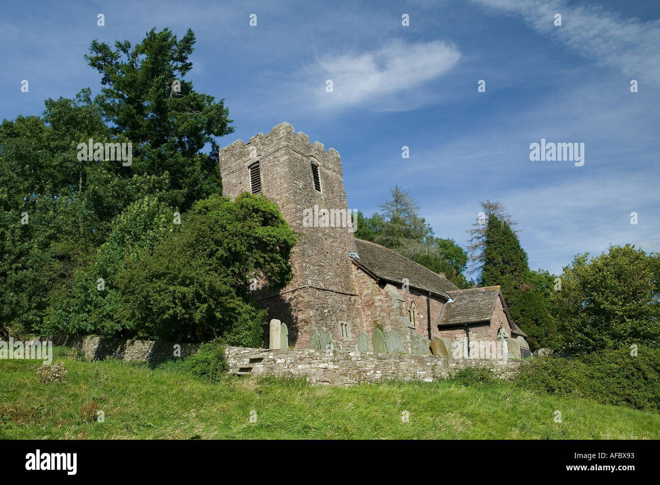 St Martins church Cwmyoy affected by subsidence Mid Wales UK - Stock Image