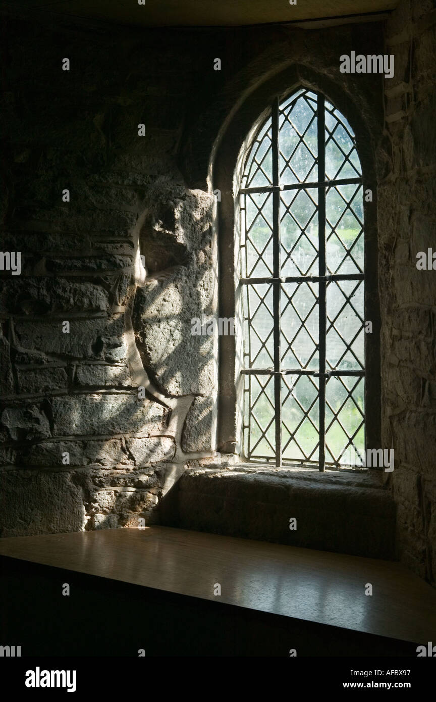 Window in St Martins church Cwmyoy Mid Wales UK - Stock Image