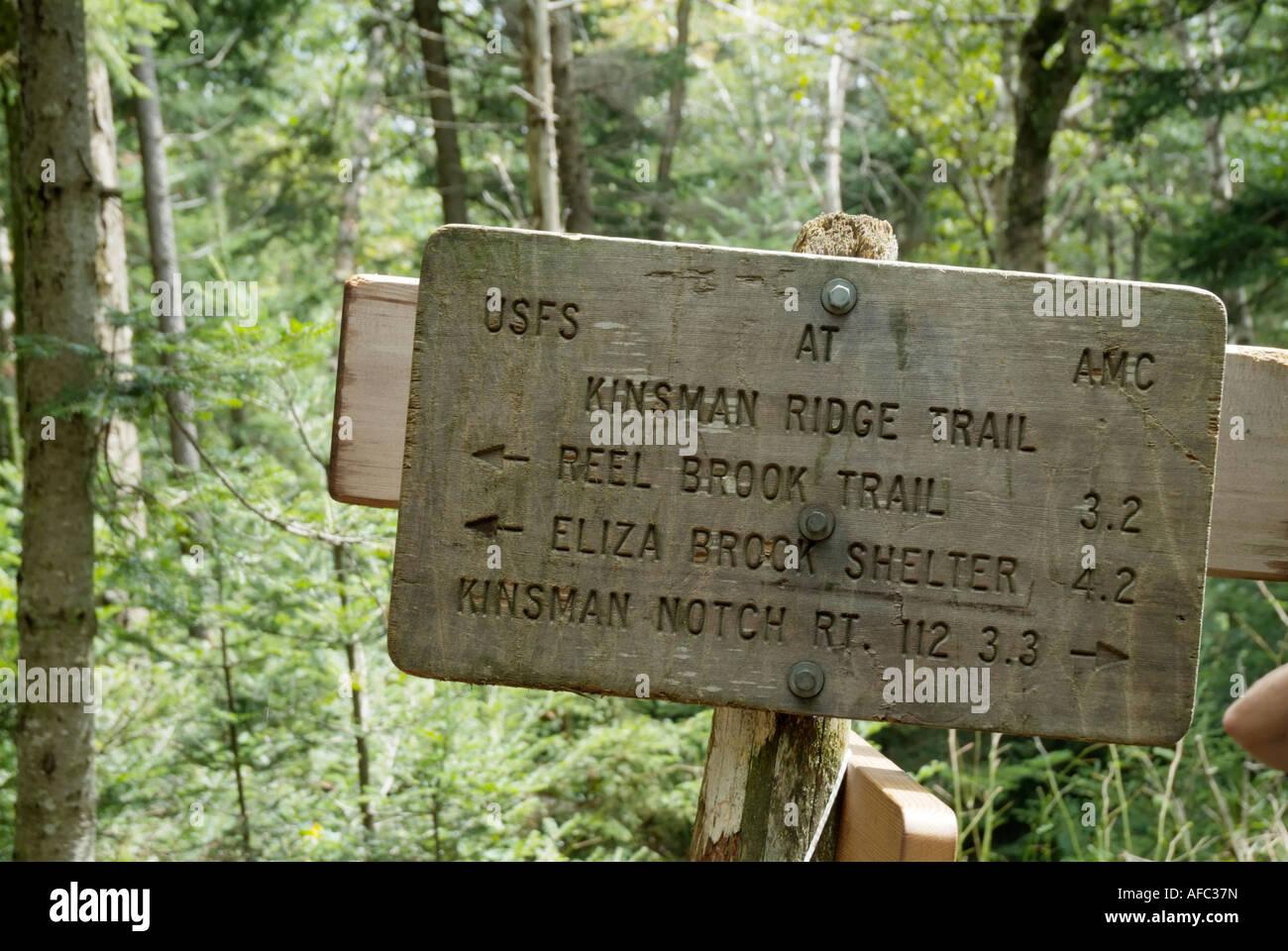 Appalachian Trail Kinsman Ridge Trail sign in White Mountains New ...