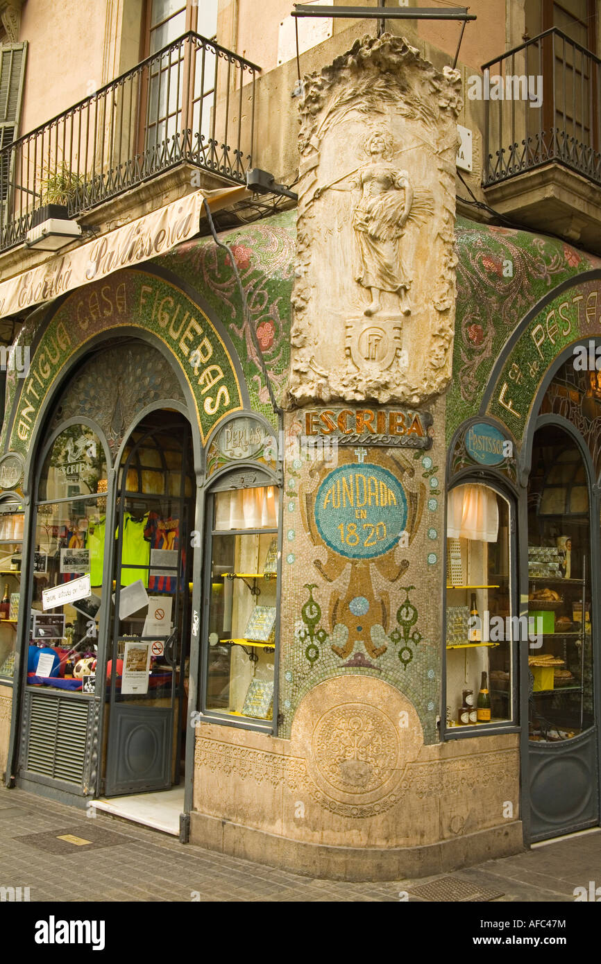 Detail of Escriba Pastisseria historic sweet store La Rambla Street City of Barcelona Spain - Stock Image