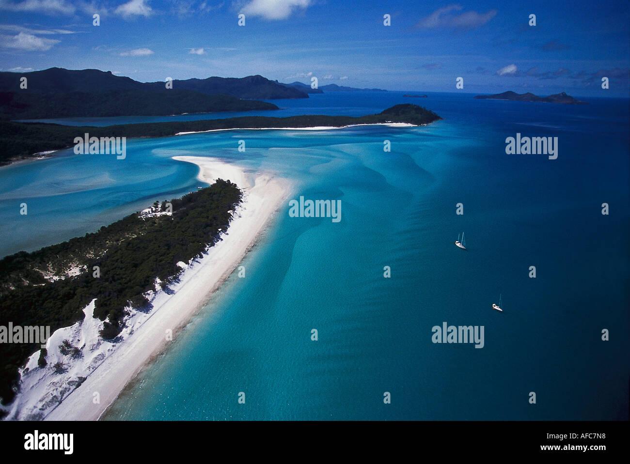 Whitehaven Beach, Luftbild, Whitsunday Island, Queensland Australien - Stock Image