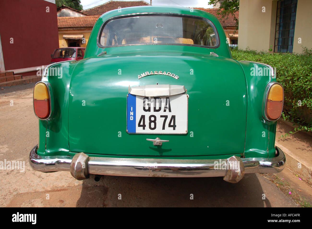 Hindustan Ambassador car in the latin quarter, Panjim, Goa - Stock Image