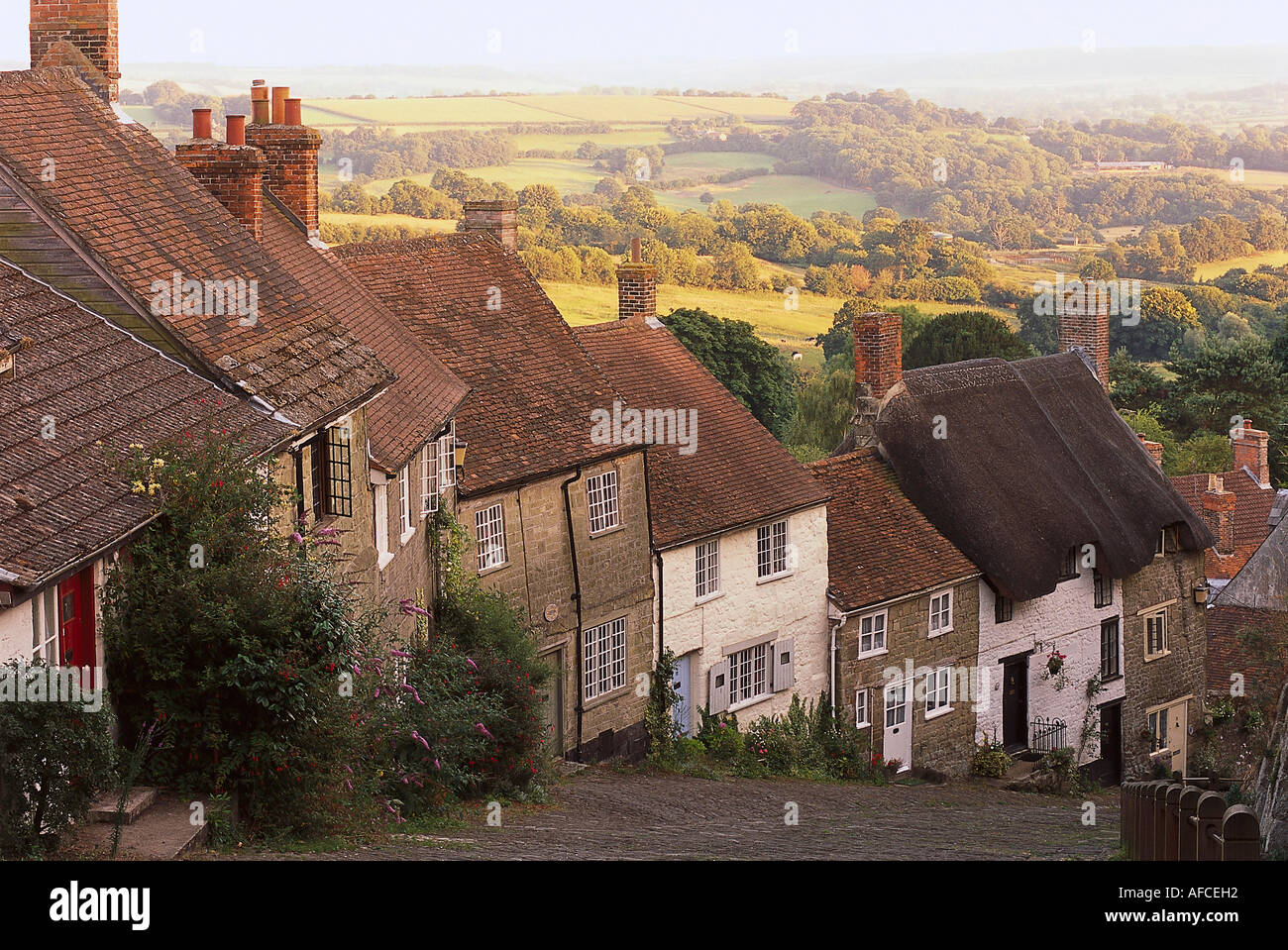 Gold Hill, Shaftesbury, Dorset England - Stock Image