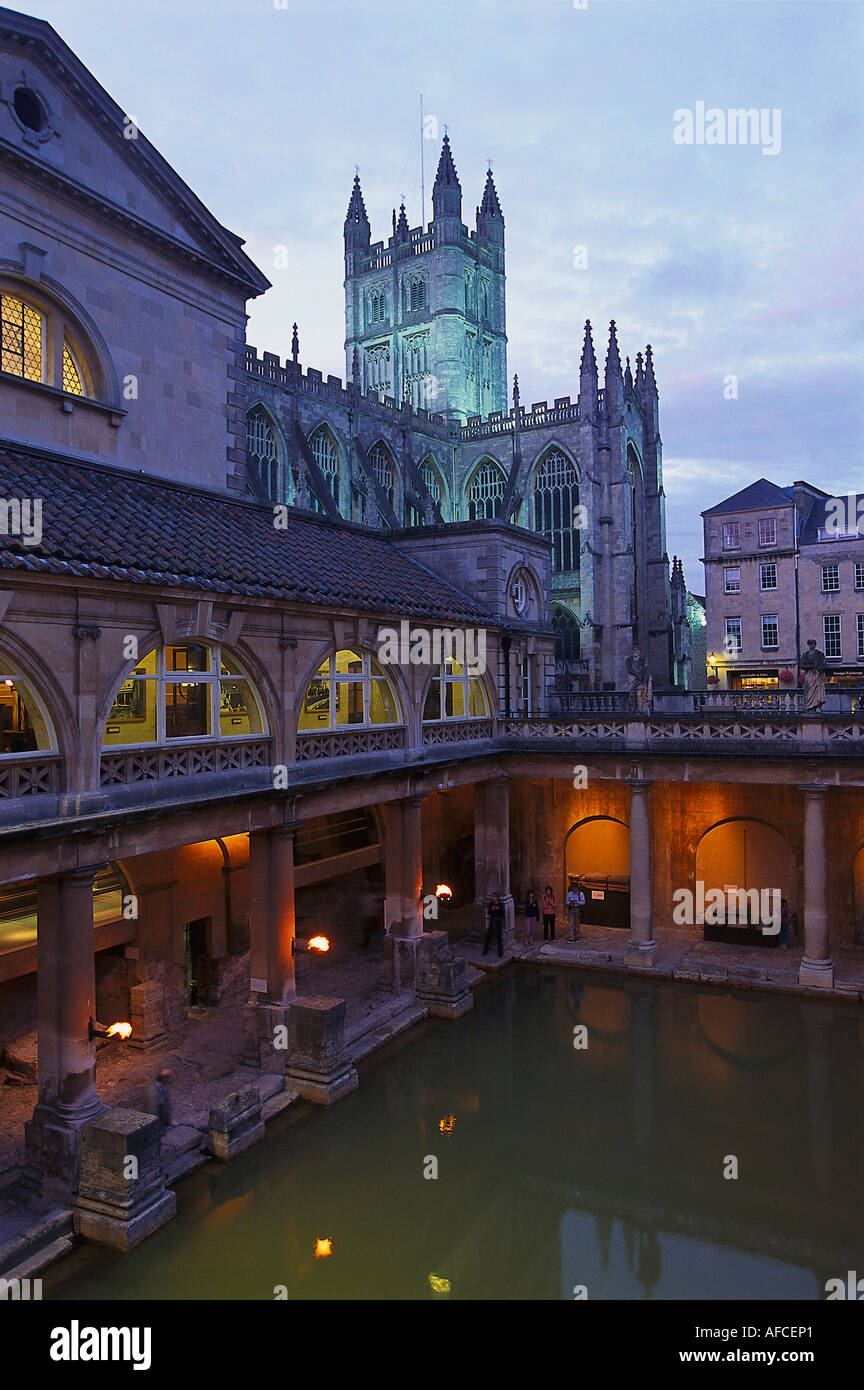 Roman Baths and Bath Abbey in the evening light, Bath, Somerset, England, Great Britain - Stock Image