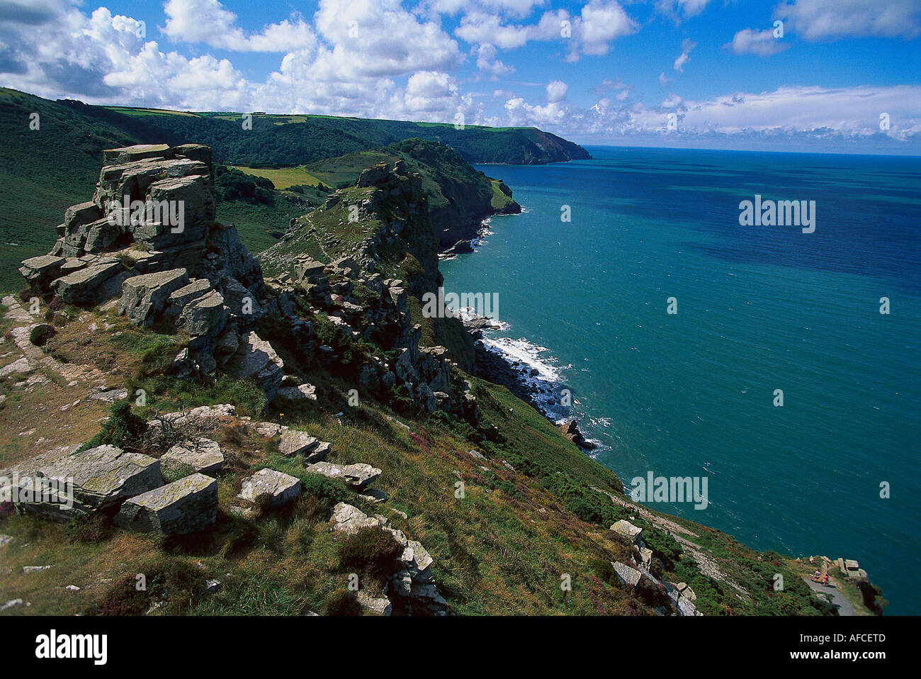 Valley of Rocks, Exmoor NP, Near Lynton Devon, England - Stock Image