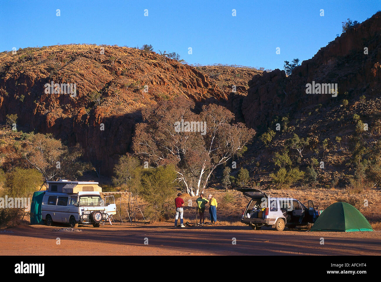 Campground at Glen Helen Gorge, West MacDonnell NP NT, Australia - Stock Image