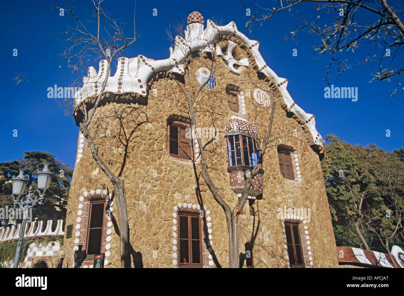 In Güell Park created by Antoni Gaudí the entry lodge is the Interpretation Centre - Stock Image