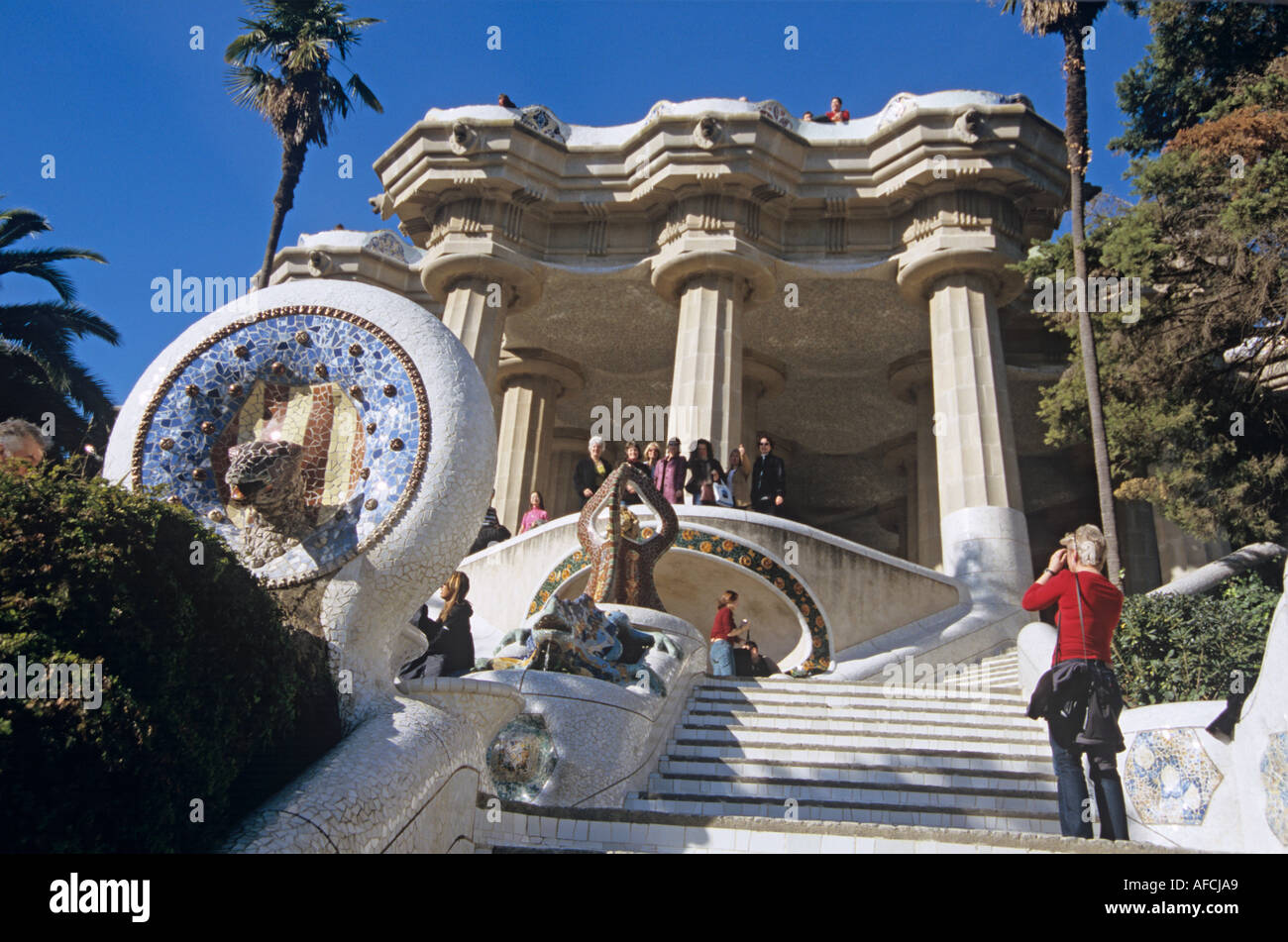 In Güell Park created by Antoni Gaudí a stairway rises to the pillared Hypostyle hall - Stock Image