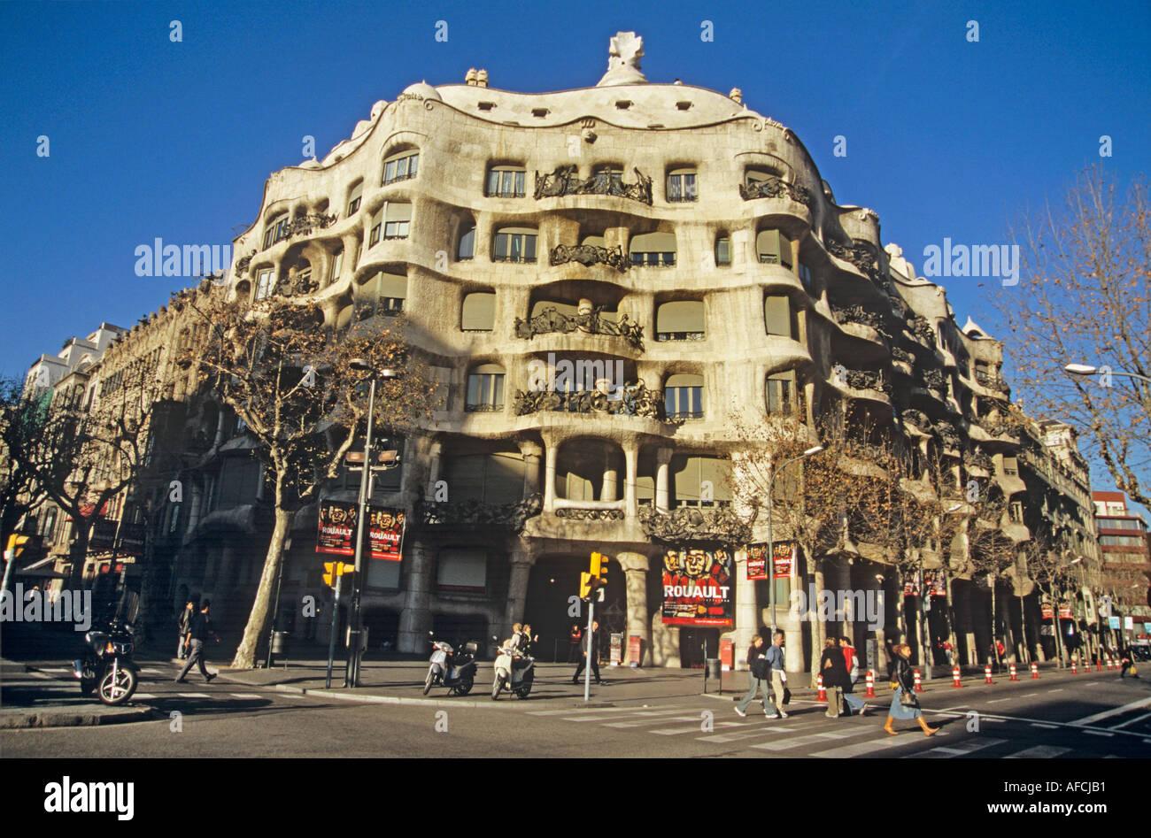 A triumph of Antoni Gaudí design is Casa Mila or La Pedrera in Barcelona - Stock Image