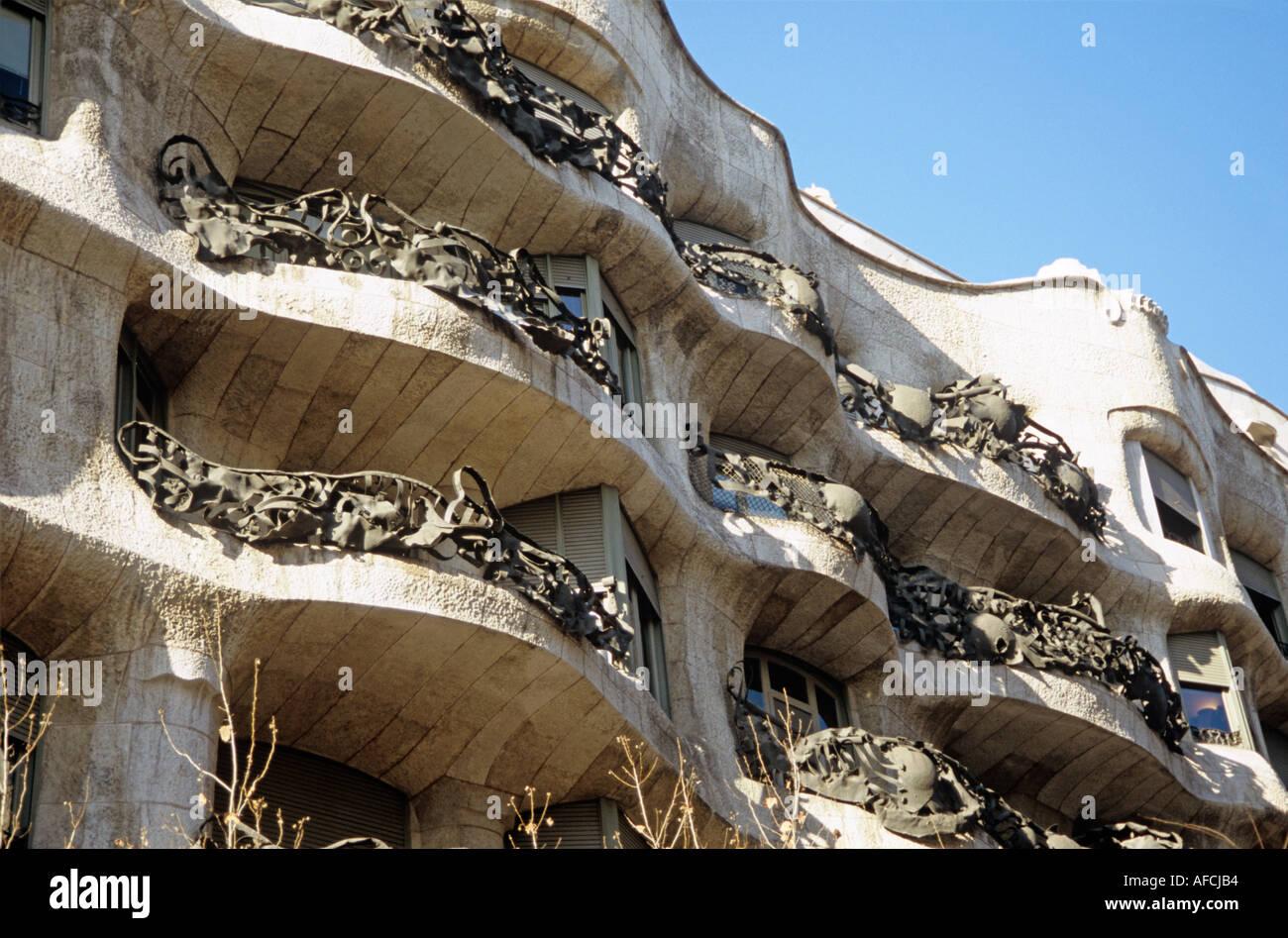 A triumph of Antoni Gaudí is Casa Mila or La Pedrera in Barcelona - Stock Image
