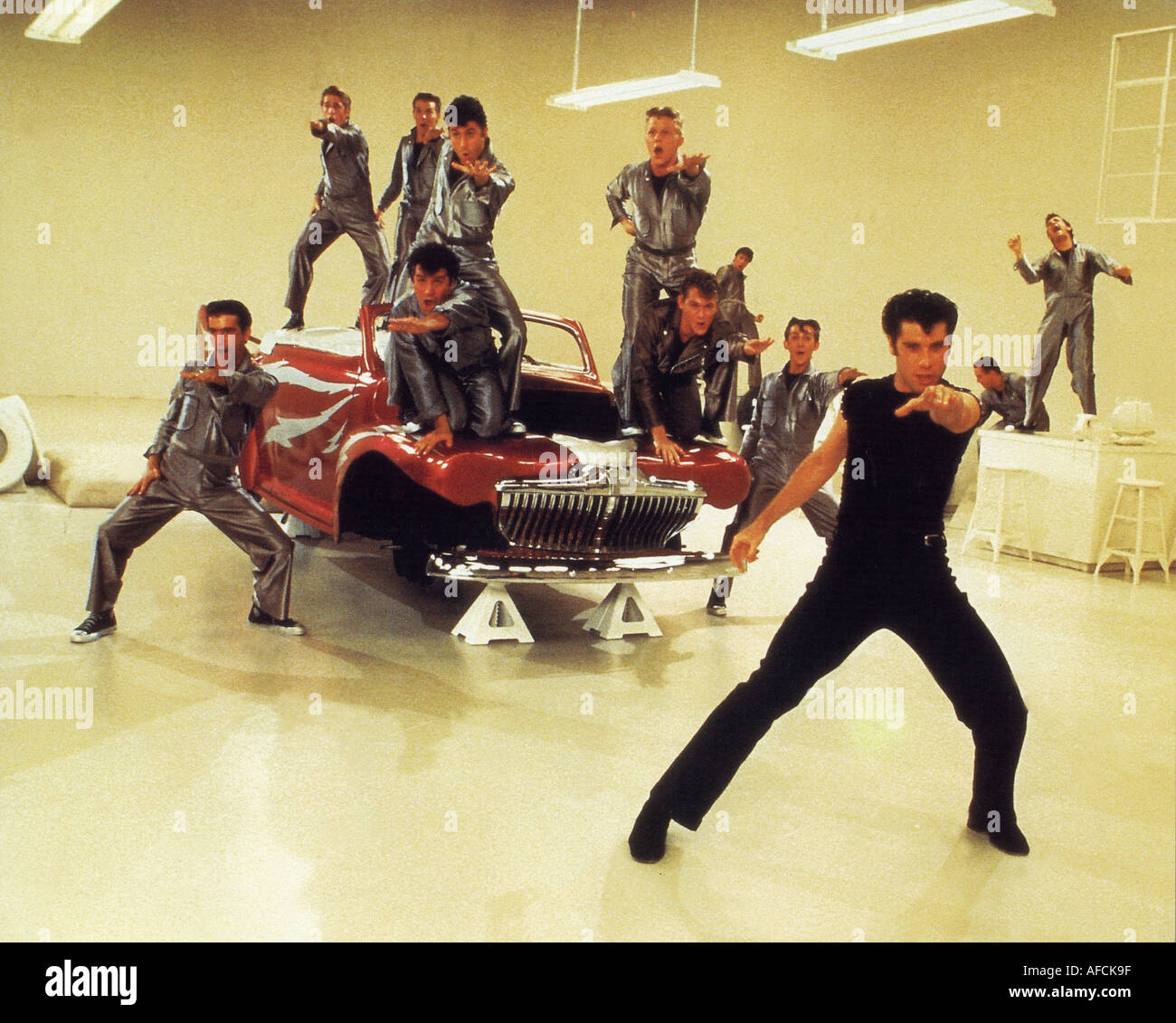 GREASE 1978 film musical with John Travolta right - Stock Image