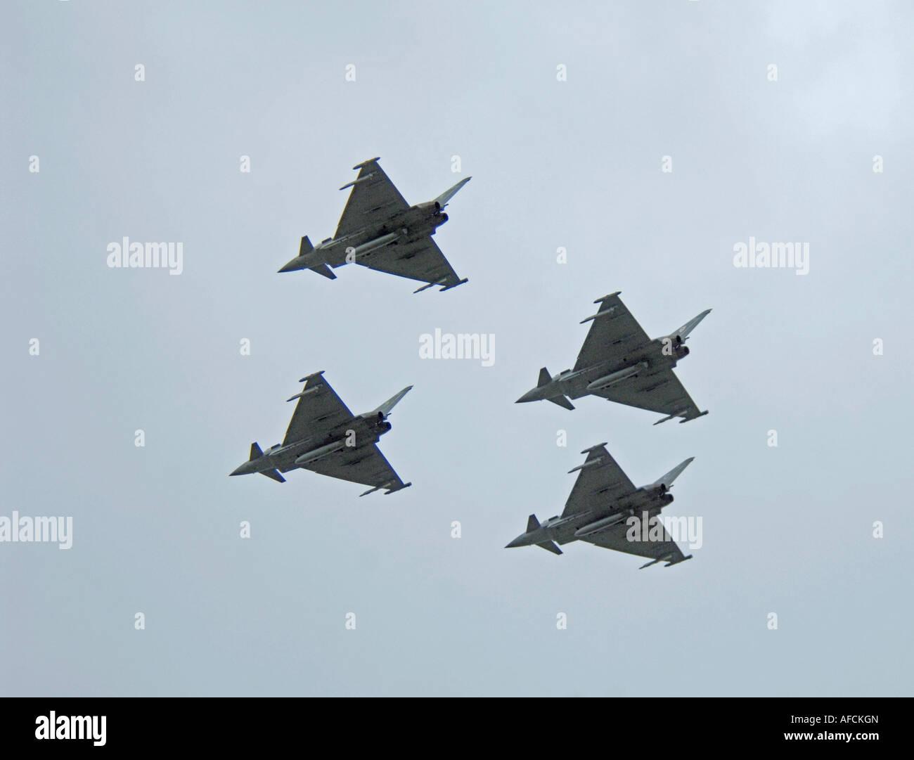 Typhoon Eurofighter 4 Ship Formation Flight - Stock Image