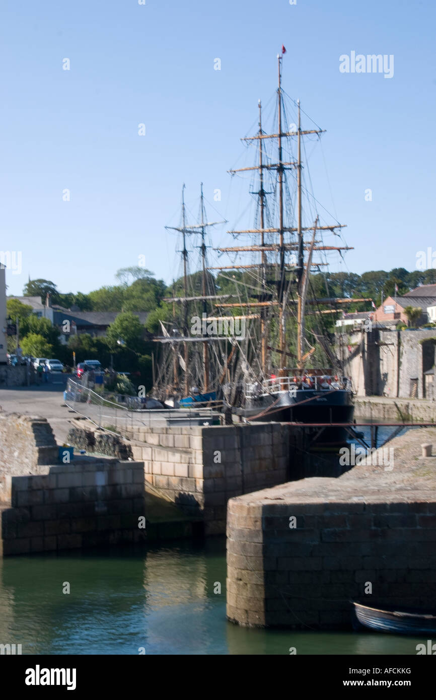 Traditional Sailing vessels in Charlestown Harbour Cornwall - Stock Image