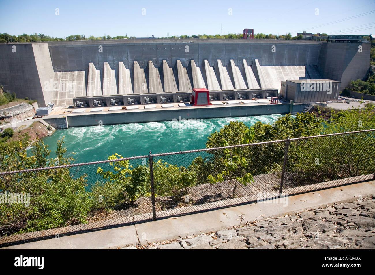 Hydro plant Niagara River Ontario Canada;Hydro Power or alternative power - Stock Image