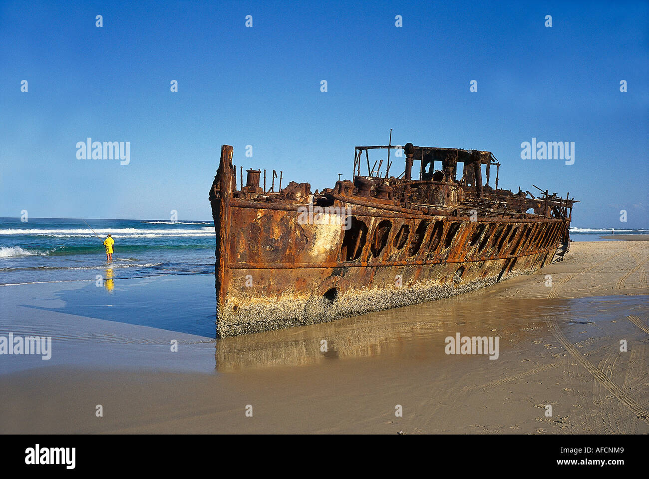 Maheno Shipwreck, Fraser Island Queensland, Australia - Stock Image