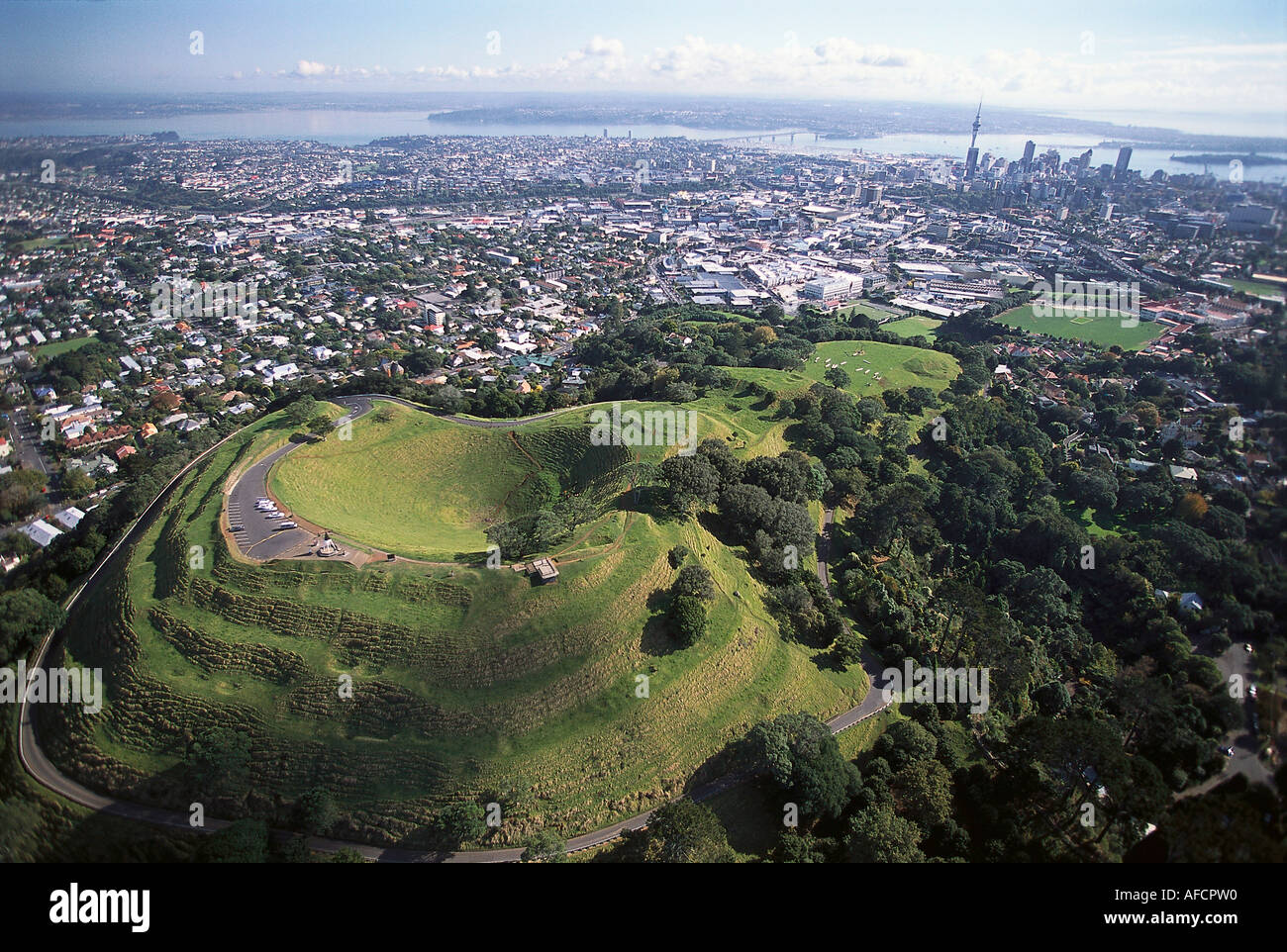 Aerial Photo, Mt. Eden Crater, Auckland, North Island, New Zealand - Stock Image