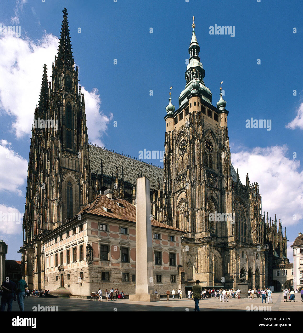 Geography Travel Czech Republic Prague Praha Churches St Vitus Cathedral Exterior View Second Inner Court Gothic Sty