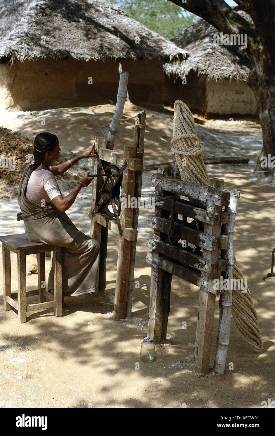 geography / travel, India, skilled crafts, ropemaker at work, southern India, ropemaker, rope, production, , Additional-Rights-Clearances-NA - Stock Image
