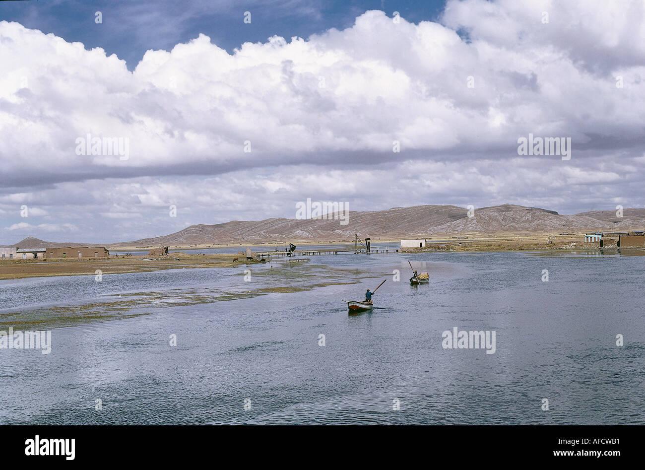 Geografie, Bolivien, Titicacasee, Übergang zum See, bei Uinamarca, Südamerika, See, Berg, Gebirge, Anden, Landschaft, - Stock Image