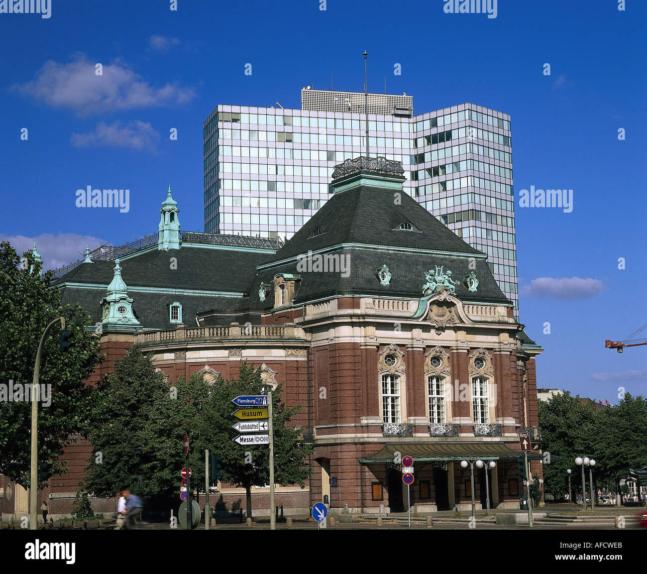 geography / travel, Germany, Hamburg, Musikhalle, music hall in front of Unilever skyscraper, - Stock Image