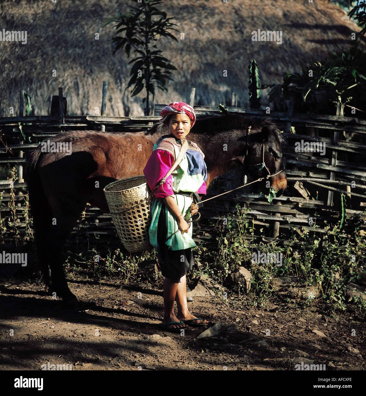Geografie, Thailand, Menschen, junge Lissu - Frau mit Pferd und Tragekorb, Ganzfigur, Einheimische, Tier, - Stock Image