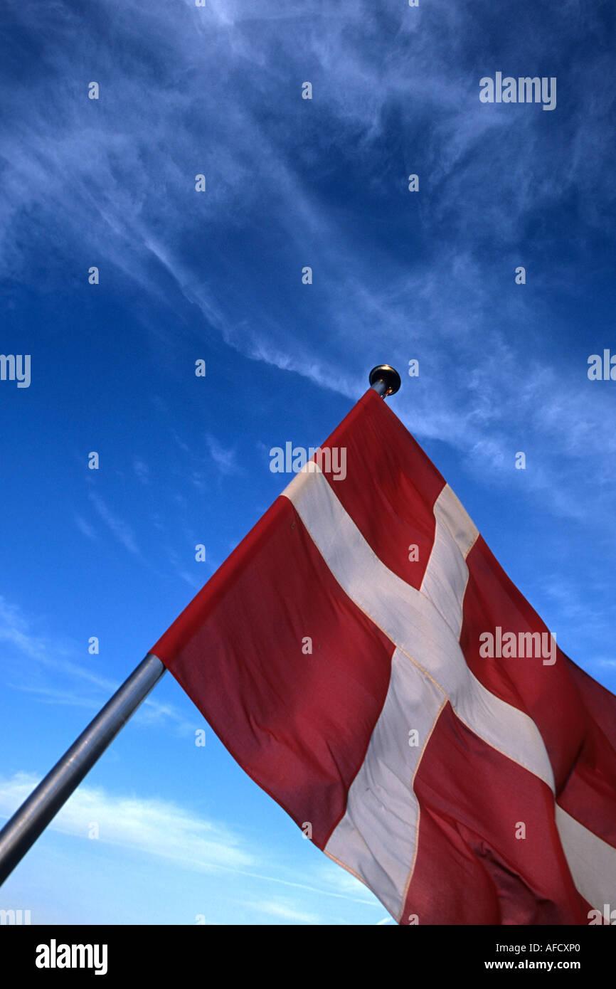 Dannebrog, Danish Flag, Aboard the Laeso Ferry, Denmark - Stock Image