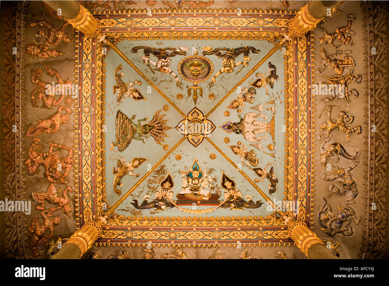 Ceiling decoration of the Patuxai monument Vientiane seen from the ground, Laos. - Stock Image
