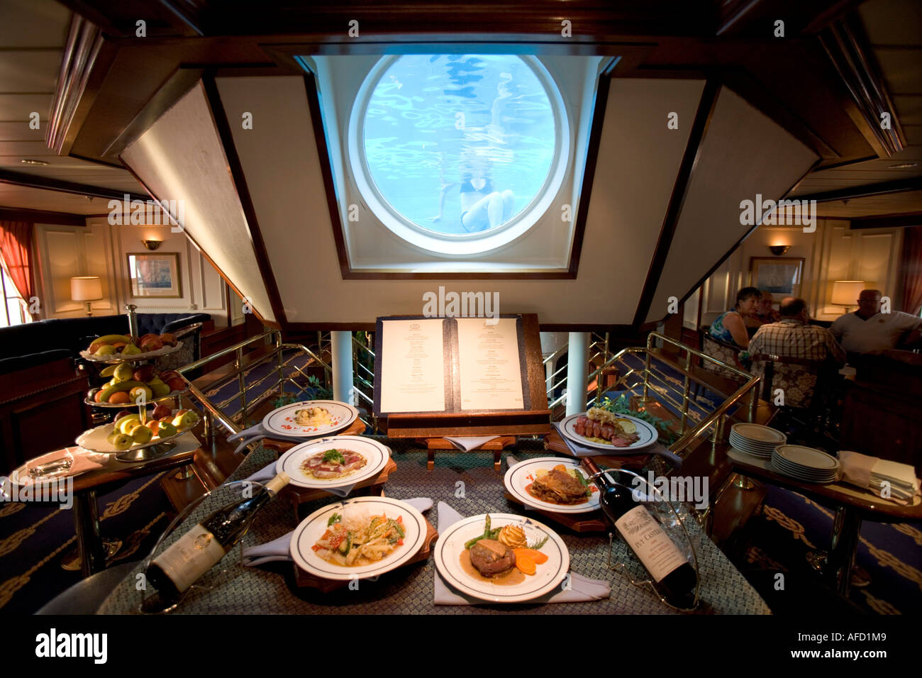 Star Flyer Atrium, Captain´s Dinner Choices, Santorini Harbor, Greece - Stock Image