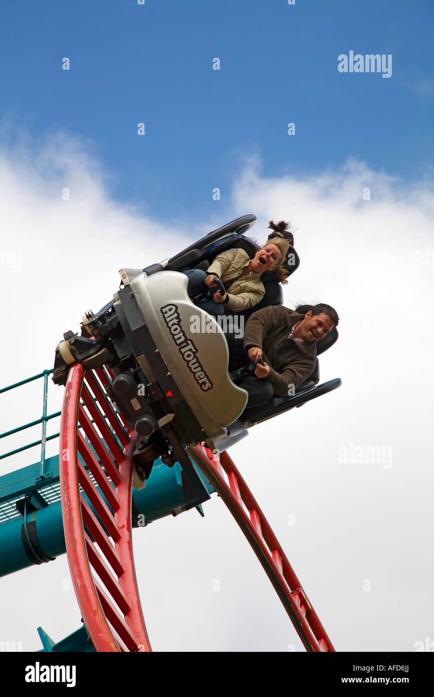 Riders on roller coaster at Alton Towers, Staffordshire, UK Stock Photo