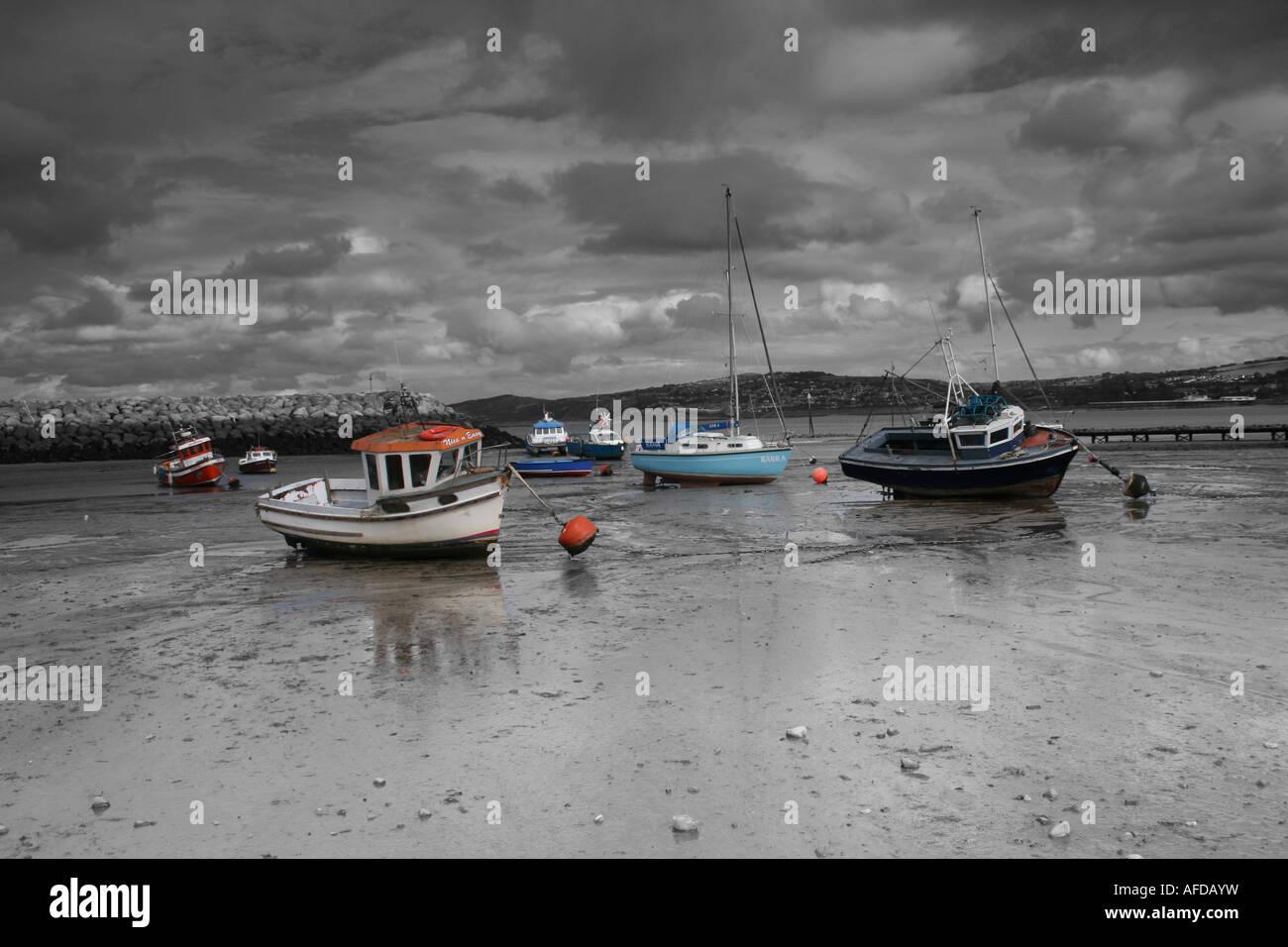 Boats at Rhos on Sea - Stock Image